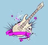 Υπόβαθρο με την ηλεκτρικά κιθάρα και το κρανίο Στοκ εικόνα με δικαίωμα ελεύθερης χρήσης