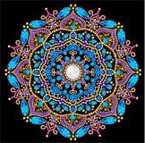 Υπόβαθρο με την κυκλική διακόσμηση των πολύτιμων λίθων στοκ εικόνες
