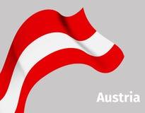 Υπόβαθρο με την κυματιστή σημαία της Αυστρίας διανυσματική απεικόνιση