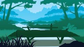 Υπόβαθρο με την ξύλινη γέφυρα κοντά στη λίμνη απεικόνιση αποθεμάτων