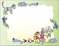 Υπόβαθρο με τη γάτα, τα ποντίκια και τα ψάρια Στοκ φωτογραφία με δικαίωμα ελεύθερης χρήσης