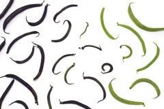 Υπόβαθρο με τη διακόσμηση των πράσινων φασολιών στοκ εικόνα