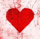 Υπόβαθρο με τη φωτεινά κόκκινα καρδιά και το σχέδιο γρατσουνιών διανυσματική απεικόνιση