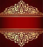 υπόβαθρο με τη χρυσή διακόσμηση και την κόκκινη ζώνη στοκ εικόνες