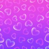 Υπόβαθρο με τις διαφανείς τρυφερές καρδιές σε ένα ρόδινο και ιώδες BA απεικόνιση αποθεμάτων