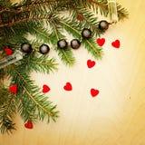 Υπόβαθρο με τις διακοσμήσεις Χριστουγέννων Στοκ φωτογραφίες με δικαίωμα ελεύθερης χρήσης