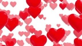 Υπόβαθρο με τις κόκκινες πετώντας καρδιές στο άσπρο υπόβαθρο απόθεμα βίντεο
