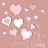 Υπόβαθρο με τις ρόδινες καρδιές Στοκ φωτογραφία με δικαίωμα ελεύθερης χρήσης