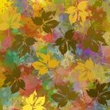 Υπόβαθρο με τις σκιαγραφίες φθινοπώρου πέρα από τους λεκέδες colorist Στοκ Φωτογραφίες