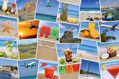 Υπόβαθρο με τις φωτογραφίες από τις θερινές διακοπές, παραλία, διακοπές και Στοκ φωτογραφία με δικαίωμα ελεύθερης χρήσης
