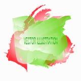 Υπόβαθρο με τους λεκέδες watercolor Απεικόνιση στα κόκκινα, πράσινα και άσπρα χρώματα επίσης corel σύρετε το διάνυσμα απεικόνισης Στοκ Φωτογραφίες