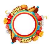Υπόβαθρο με το γεύμα γρήγορου φαγητού Νόστιμα προϊόντα μεσημεριανού γεύματος γρήγορου γεύματος διανυσματική απεικόνιση