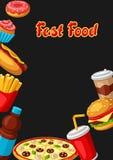 Υπόβαθρο με το γεύμα γρήγορου φαγητού Νόστιμα προϊόντα μεσημεριανού γεύματος γρήγορου γεύματος απεικόνιση αποθεμάτων