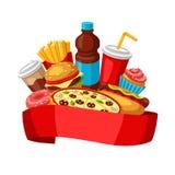 Υπόβαθρο με το γεύμα γρήγορου φαγητού Νόστιμα προϊόντα μεσημεριανού γεύματος γρήγορου γεύματος ελεύθερη απεικόνιση δικαιώματος