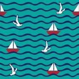Υπόβαθρο με το κύμα, πλέοντας βάρκα, πετώντας γλάροι Στοκ εικόνα με δικαίωμα ελεύθερης χρήσης