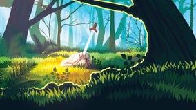 Υπόβαθρο με το μυστικό δάσος διανυσματική απεικόνιση