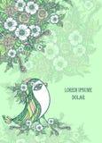 Υπόβαθρο με το πουλί άνοιξη doodle και λουλούδια στο μπλε Στοκ Εικόνες