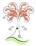 Υπόβαθρο με το πουλί, τα λουλούδια και το δέντρο Στοκ Φωτογραφία