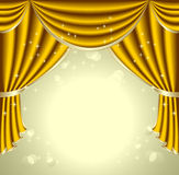 Υπόβαθρο με το χρυσό drapes Στοκ εικόνα με δικαίωμα ελεύθερης χρήσης