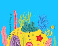 Υπόβαθρο με το ωκεάνιο κατώτατο σημείο, κοραλλιογενείς ύφαλοι, φύκι Διανυσματική αφηρημένη απεικόνιση ενός υποβρύχιου τοπίου στο  Στοκ Φωτογραφία