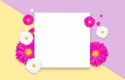 Υπόβαθρο με το όμορφο ζωηρόχρωμο λουλούδι Ιπτάμενα ταπετσαριών, πρόσκληση, αφίσες, φυλλάδιο, έκπτωση αποδείξεων Στοκ φωτογραφία με δικαίωμα ελεύθερης χρήσης