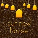 Υπόβαθρο με χρωματισμένα τα χρυσός κρεμώντας σπίτια Στοκ εικόνα με δικαίωμα ελεύθερης χρήσης