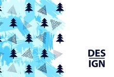 Υπόβαθρο με fir-trees, τα τρίγωνα και τα μπλε κτυπήματα βουρτσών απεικόνιση αποθεμάτων
