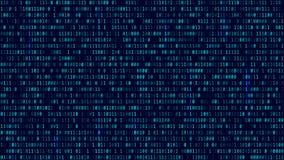 Υπόβαθρο μητρών με το μπλε φως binary code computer διάνυσμα Ελεύθερη απεικόνιση δικαιώματος