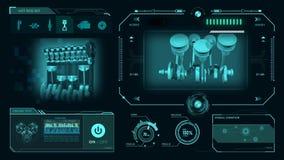 Υπόβαθρο μηχανών HUD διανυσματική απεικόνιση