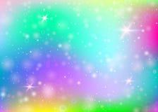 Υπόβαθρο μονοκέρων με το πλέγμα ουράνιων τόξων διανυσματική απεικόνιση