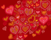 Υπόβαθρο μορφής καρδιών σχεδίων στα κόκκινα χρώματα στην ημέρα βαλεντίνων απεικόνιση αποθεμάτων