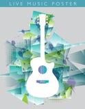 Υπόβαθρο μουσικής με μια ακουστική κιθάρα Στοκ Φωτογραφίες