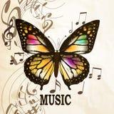 Υπόβαθρο μουσικής με την πεταλούδα Στοκ Φωτογραφία