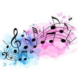 Υπόβαθρο μουσικής με τις σημειώσεις και τη σύσταση watercolor ελεύθερη απεικόνιση δικαιώματος