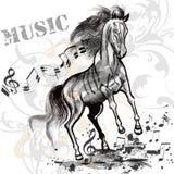 Υπόβαθρο μουσικής με το άλογο και τις σημειώσεις τρεξίματος Στοκ εικόνα με δικαίωμα ελεύθερης χρήσης