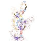 Υπόβαθρο μουσικής το τριπλό clef που διακοσμείται με από τα λουλούδια Στοκ Φωτογραφίες