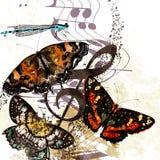 Υπόβαθρο μουσικής Grunge με τις πεταλούδες και τις σημειώσεις Στοκ Φωτογραφίες