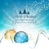Υπόβαθρο, μπιχλιμπίδια, swirly γραμμές και snowflakes Χριστουγέννων Στοκ Φωτογραφίες