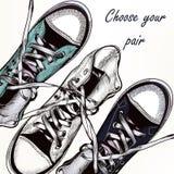 Υπόβαθρο μόδας με τα πάνινα παπούτσια αθλητικών μποτών Στοκ εικόνα με δικαίωμα ελεύθερης χρήσης
