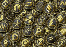 Υπόβαθρο νομισμάτων Cryptocurrency Στοκ φωτογραφία με δικαίωμα ελεύθερης χρήσης