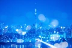 Υπόβαθρο νύχτας πόλεων του Τόκιο με τα φω'τα Bokeh θαμπάδων Στοκ φωτογραφίες με δικαίωμα ελεύθερης χρήσης