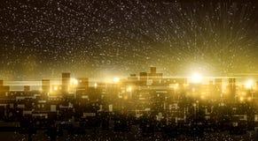 Υπόβαθρο νύχτας πόλεων λυκόφατος Στοκ Φωτογραφίες