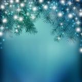Υπόβαθρο νύχτας Χριστουγέννων με το χριστουγεννιάτικο δέντρο στο χιόνι ελεύθερη απεικόνιση δικαιώματος