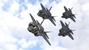 Υπόβαθρο ομάδων πολεμικών αεροσκαφών, τρισδιάστατη απόδοση στοκ εικόνα με δικαίωμα ελεύθερης χρήσης