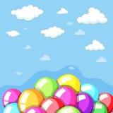Υπόβαθρο ουρανού με τα ζωηρόχρωμα μπαλόνια Στοκ φωτογραφίες με δικαίωμα ελεύθερης χρήσης