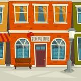 Υπόβαθρο οδών πόλεων με το κτήριο καταστημάτων, διανυσματική απεικόνιση κινούμενων σχεδίων Στοκ Εικόνες