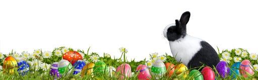 Υπόβαθρο Πάσχας με τα αυγά Πάσχας και το λαγουδάκι Πάσχας Στοκ Φωτογραφίες