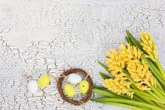Υπόβαθρο Πάσχας με τα κίτρινα λουλούδια και τα διακοσμητικά αυγά στη μικρή φωλιά Στοκ εικόνες με δικαίωμα ελεύθερης χρήσης