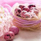 Υπόβαθρο Πάσχας με το ρόδινο υάκινθο και τα διακοσμητικά αυγά Στοκ εικόνες με δικαίωμα ελεύθερης χρήσης