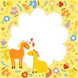 Υπόβαθρο παιδιών ` s με τα άλογα Στοκ εικόνα με δικαίωμα ελεύθερης χρήσης